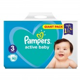 Pampers Active Baby-Dry 3 scutece copii 6-10 kg, 90 buc Giant Pack