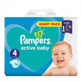 Pampers Active Baby-Dry 4 scutece copii 9-14 kg, 76 buc Giant Pack