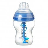 Tommee Tippee Biberon Advanced Anticolic cu tetina flux lent si senzor de temperatura 260 ml, Blue 01